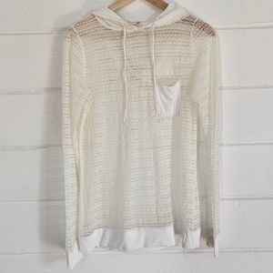 DownEast Basics Ivory Lace Pull Over Hoodie